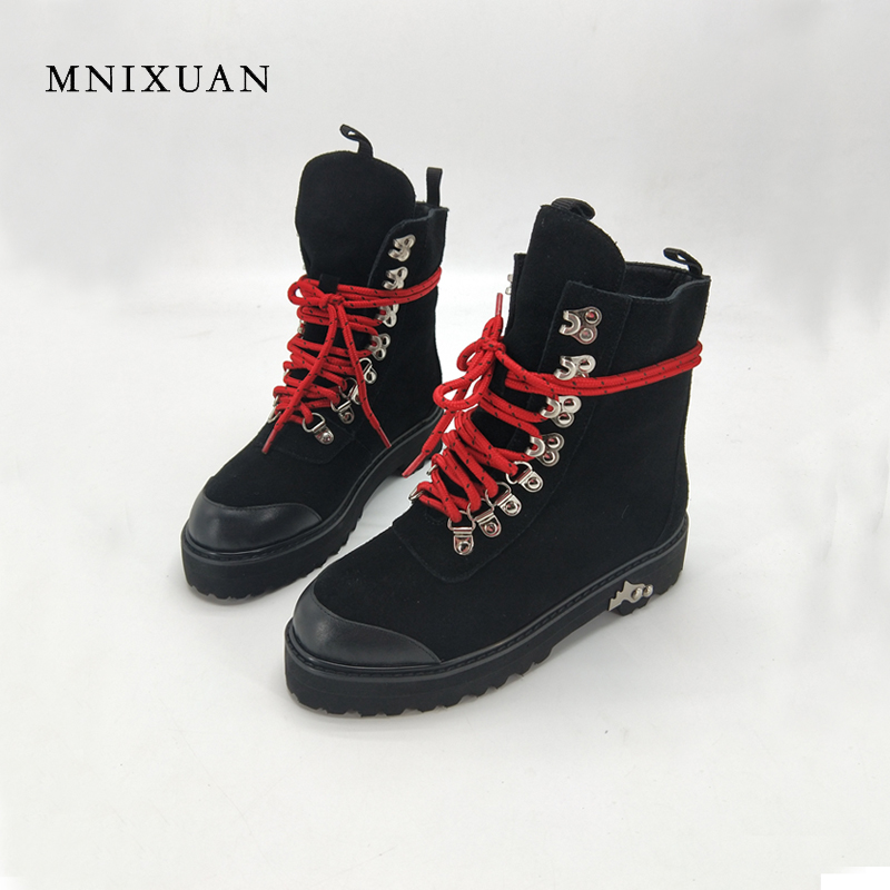 Genuine leather women boots motorcycle 2017 winter lace up ladies shoes platform medium thick heels ankle martin boots big size9 elna silmic ii 25v 10 uf