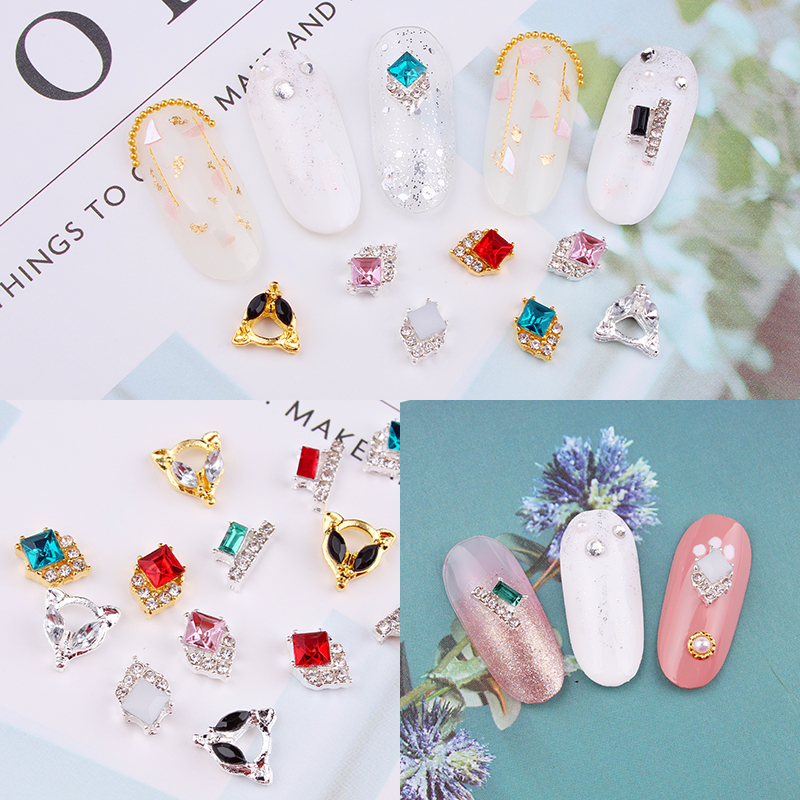 100pcs Nail Charms Studs Nails 3d Jewelry Fancy Crystal Drop Gold Silver diamond Nail art Decoration luxury nails rhinestone in Rhinestones Decorations from Beauty Health
