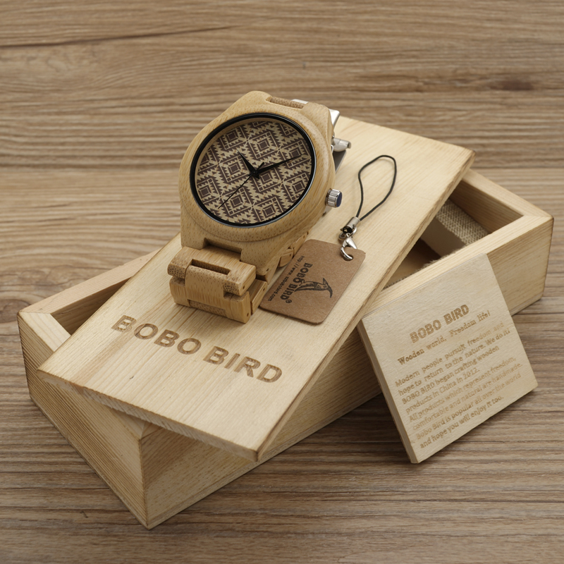 BOBO BIRD Wood Watch Men Naturally Minimalism Luxury Simplicity Casual Bamboo Wooden Watches With All Wood Bamboo Straps Relogio bobo bird luxury bamboo wood men watch with engrave flower bamboo band quartz casual women watch full wooden watch in gift box