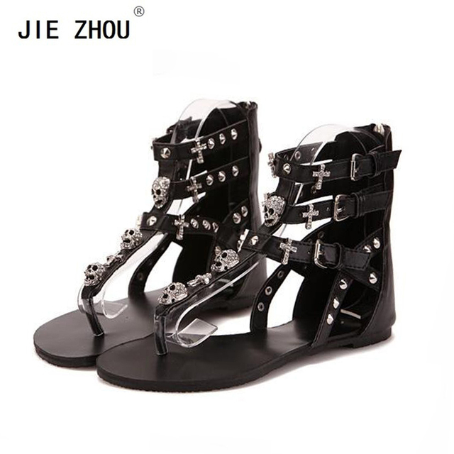 28eacf872 2018 Summer Gladiator Sandals Roman Style Fashion Cross Skull Flip Flops  Women Flat Sandals zapatos de mujer