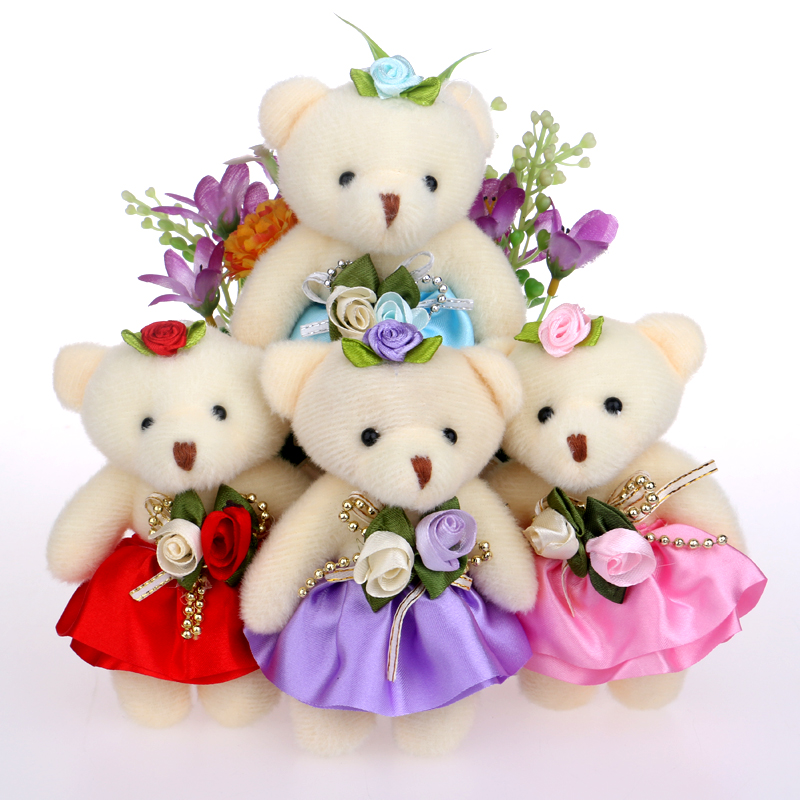 Lovely Mini Bear Soft Plush Toy Phone Charm Stuffed Small Toy Promotional Gift Opp Cotton Bear Doll For 12cm For Christmas Gift 1pc 12cm kawaii lover couple valentine s day gift novelty mascot doll toy plush papa bear panda pendant for mobile phone charm