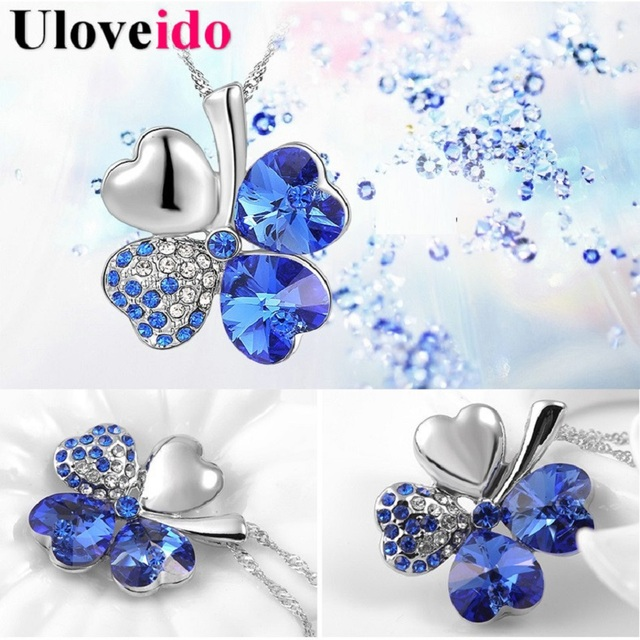 15% Off Necklaces for Women Silver-Plated Crystal Flower Necklace for Best Friends Gift Female Wholesale Cheap Fashion Uloveido