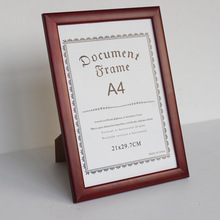 A3, A4 Size Photo Frame, Red Wood Picture Frame for certification, Hanging or Standing Two Kinds of Pattern Document Frame
