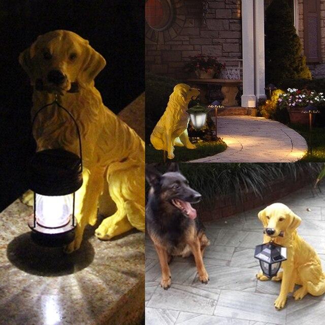 Bits And Pieces Solar Golden Retriever Lantern Solar Powered Garden Lantern    Resin Dog