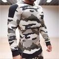Новый 2017 Марка Футболка Мода Твердые Руно Пуловер Камуфляж Балахон Мужчины Костюмы Moleton Masculino