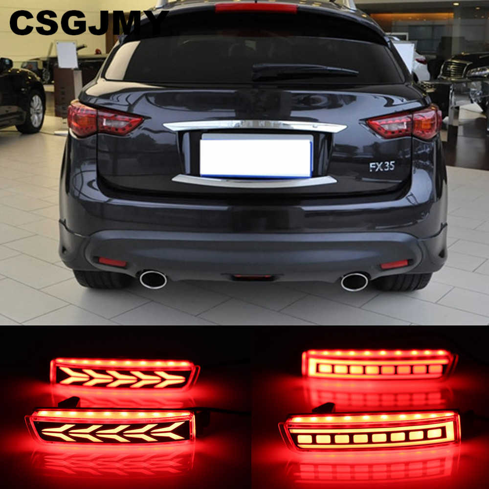 CSGJMY 2PCS LED For Infiniti FX35 FX37 FX50 2009 2010 2011 2012 2013 Reflector Lamp Tail Rear Fog Lamp Bumper Light Brake Light