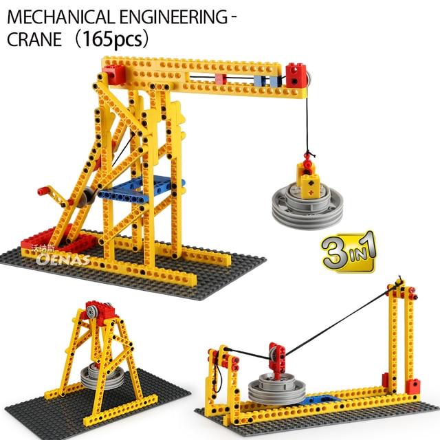 3in1 الهندسة الميكانيكية آلة رافعة مهندس متوافق الإبداعية تكنيك التعليم لتقوم بها بنفسك اللبنات الاطفال مجموعات اللعب هدية