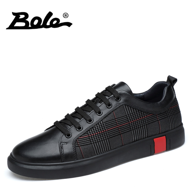 BOLE Men Genuine Leather Casual Shoes Men Lace Up New Fashion Sneakers Rubber Sole Non-slip Leather Flats Size 36-46 business men tie shallow mouth brown leather casual rivet shoes men s shoes round youth non slip rubber sole
