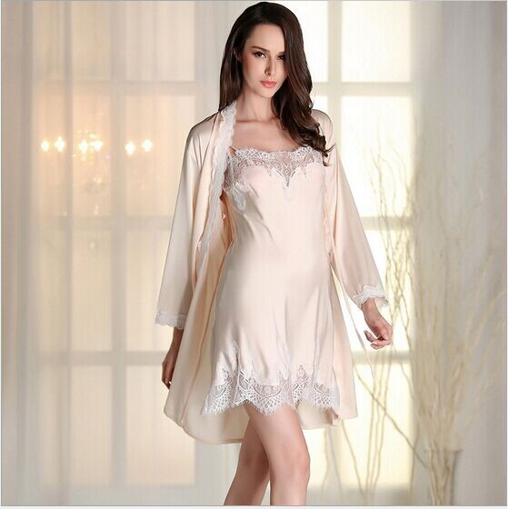 New arrival autumn and winter women robe pajamas sexy rayon nightgown sets full robe suit women leisure wear lace