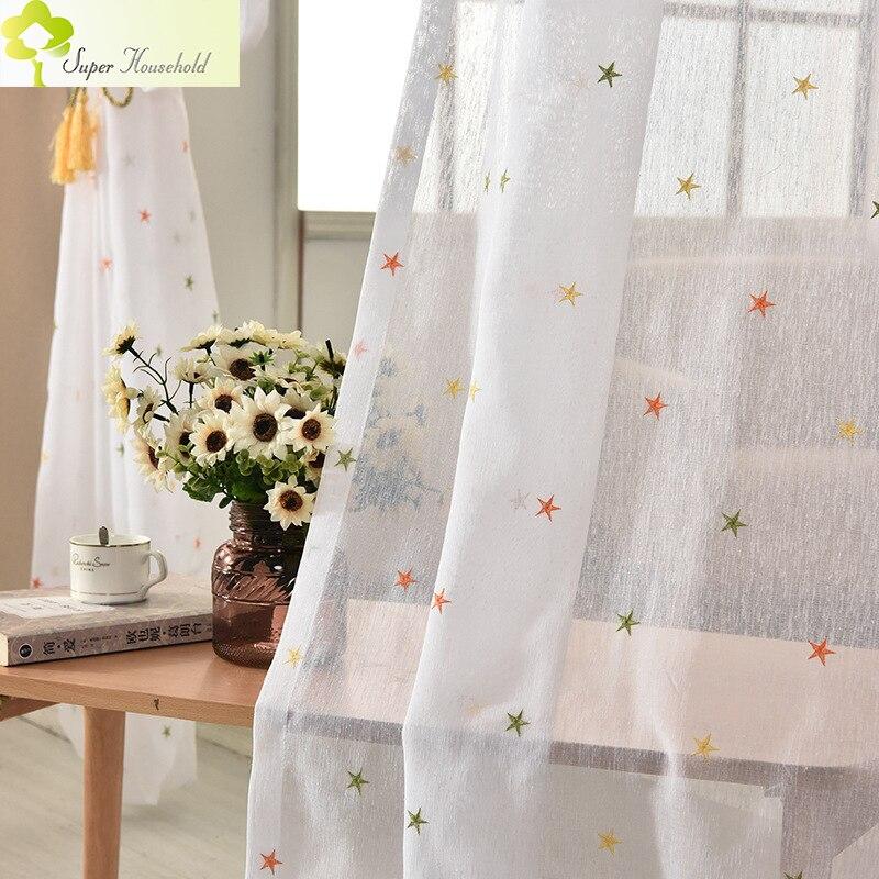 slido blanco de imitacin de lino bordado estrella pura cortinas para la sala de estar cortinas