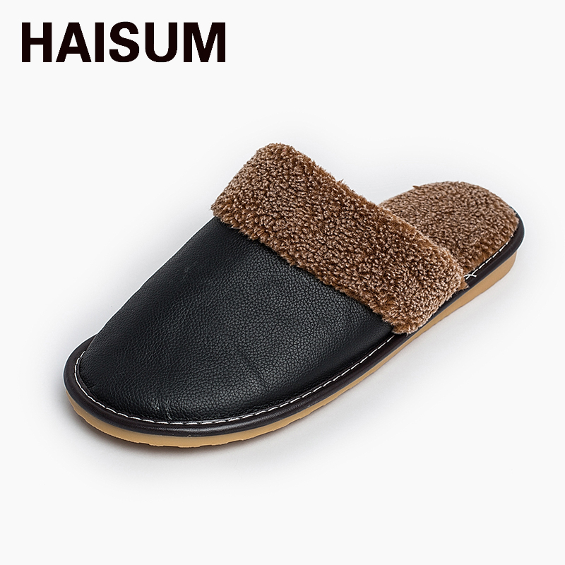 2017 Waterproof Winter Warm Home Slippers Men Genuine Cow Leather Plush Man Floor Slipper Shoes 8812 men winter soft slippers plush male home shoes indoor man warm slippers shoes