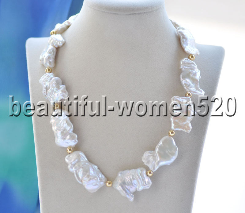 Z8949 38mm White Baroque Flat Keshi Reborn Pearl Necklace 19inchZ8949 38mm White Baroque Flat Keshi Reborn Pearl Necklace 19inch