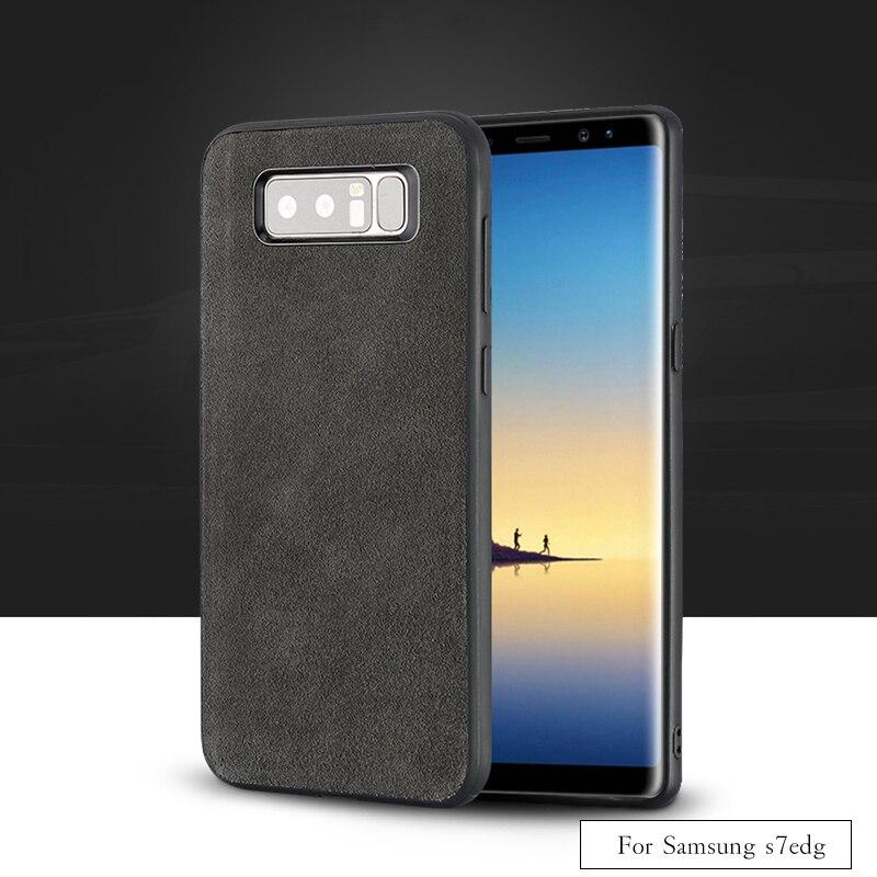 Marque de luxe Tout-fait à la main véritable fourrure téléphone étui pour samsung S7edge Confortable tactile tout-compris coque de téléphone