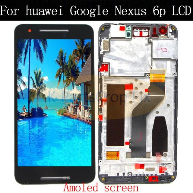 """מקורי שחור עבור 5.7 """"Huawei Google Nexus 6P LCD תצוגת מסך מגע Digitizer עם מסגרת עצרת החלפת נקסוס 6P LCD"""