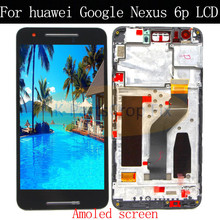 """Digitalizador de pantalla táctil de pantalla LCD original para Huawei, repuesto de montaje de marco, Nexus 6P, 5,7 """", color negro"""