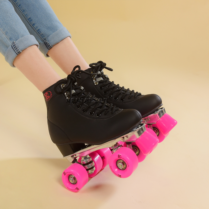 RENIAEVER roller skate women's roller  skating shoe Aluminum base Polyurethane wheel brake  with pink  wheels,black shoe