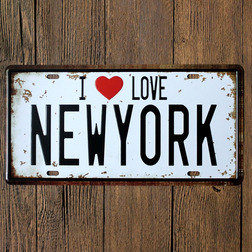 Direct selling LOSICOE Vintage license plate NEW YORK Wall art craft metal painting vintage Iron for bar home decor 15X30 CM