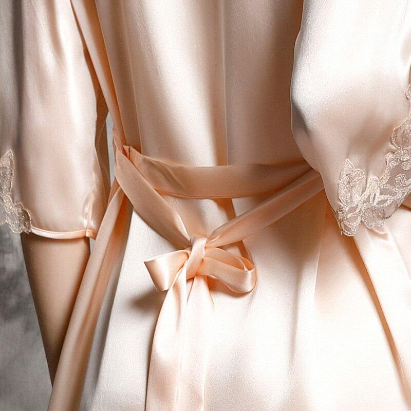 P9939 nouvelle mode 100% soie peignoir femme printemps et peignoir d'été luxueux vêtements de loisirs ensembles de chemise de nuit - 5