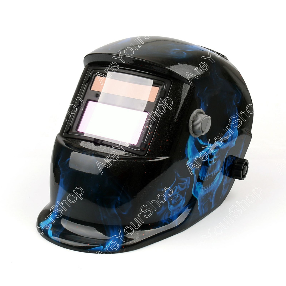 Areyourshop Solar Auto Darkening Welding Helmet Arc Tig Mig Grinding Welder Mask 1Pcs Blue Good Quality for Welding Machine