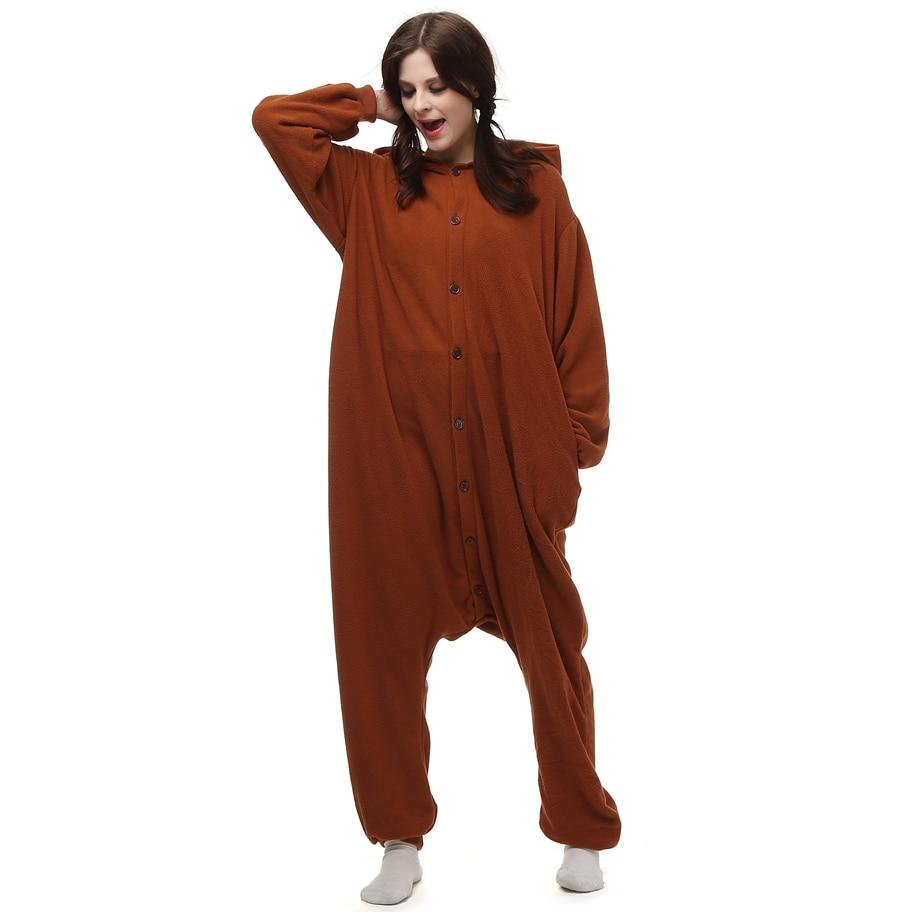 cosanimal kigurumi polar fleece brown bear costume cartoon onesie