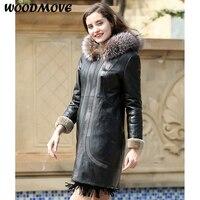 Женское пальто из овечьей кожи, Женская куртка из натуральной кожи, куртка из натуральной кожи с мехом, зимнее теплое пальто
