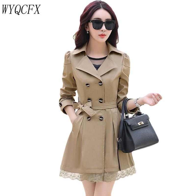 2019 Double Breasted   Trench   Coat Women Korean Spring Autumn Slim Windbreaker Fashion Lace Edge Elegant Outerwear Tops Female