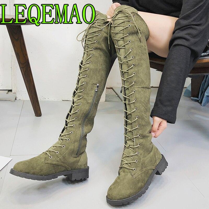 Mujeres Botines Romano De Hebilla marrón Negro Señoras verde Alta En Largas  Zapatos La Vaquero khaki 2018 Mujer Martin Botas Rodilla Invierno Awrq6AB 42a0f330b78a