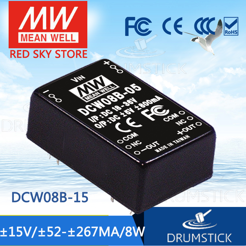 цена на MEAN WELL DCW08B-15 15V 267mA meanwell DCW08 15V 8W DC-DC Regulated Dual Output Converter
