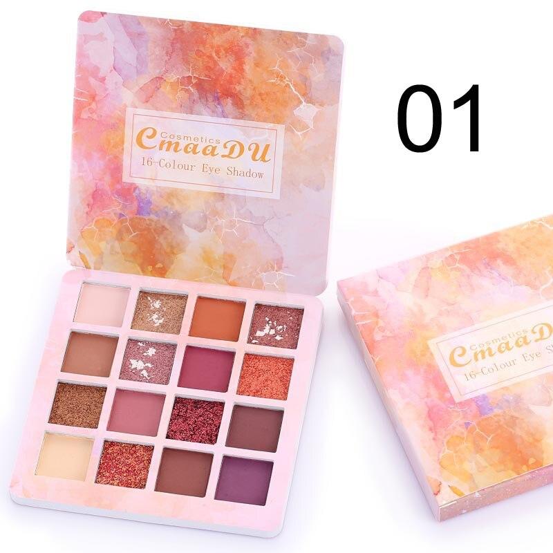 Cmaadu 16 видов цветов матовые тени для век Pallete водонепроницаемые блестящие тени для век Палитра мерцающий пигмент Алмазный Макияж Maquillage TSLM2