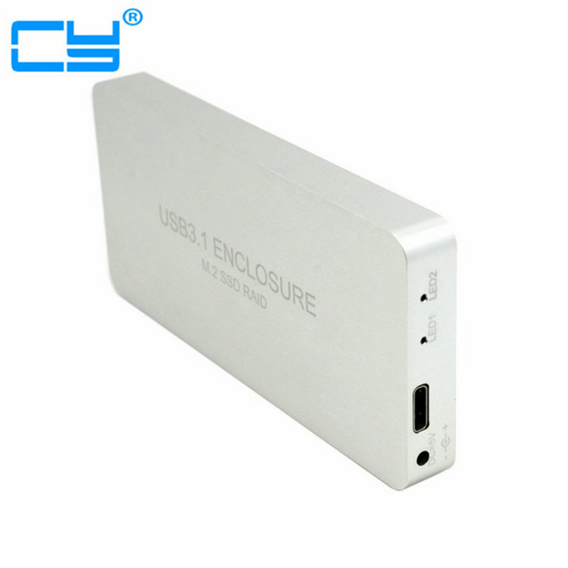 USB-C USB 3.1 Type C to Dual M.2 NGFF PCI-E 2 Lane SSD Enclosure with Raid Raid0 Raid1 or PM Free Shipping tracking number