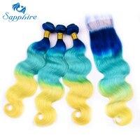 Сапфир объемная волна Связки с закрытием синий/зеленый/желтый Ombre Связки с закрытием предварительно Цветной человеческих волос утка 3 пучки