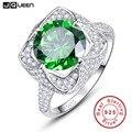 Jqueen 6.5ct esmeralda genuína 925 anéis de prata esterlina rodada cut flower design anel de noivado anel aneis anillos atacado