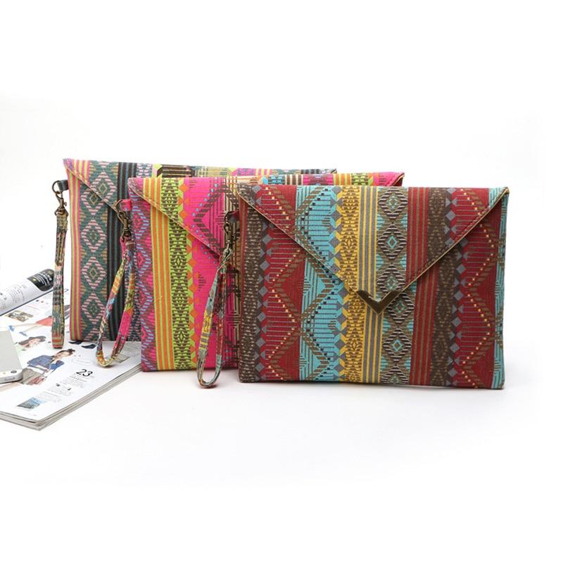 Designer Handbags Envelopes Geometric Purses Clutch Small Women Ladies National Canvas