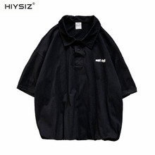 HIYSIZ NEW Men T-Shirt 2019 Fashion Trend Streetwear solid color short sleeve T-shirt Korean style loose casual Summer ST439