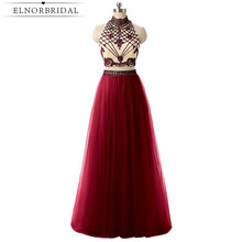 Beading Two Pieces Prom Dresses Long 2017 High Neck Formal Women Evening Dress A Line Robe De Bal Party Gowns Free Shipping