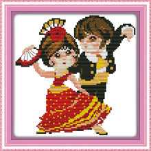 Tari India Cross Stitch Kit Kartun 14ct 11ct Count Cetak Kanvas Jahitan Bordir DIY Buatan Tangan Menjahit PLUS(China)