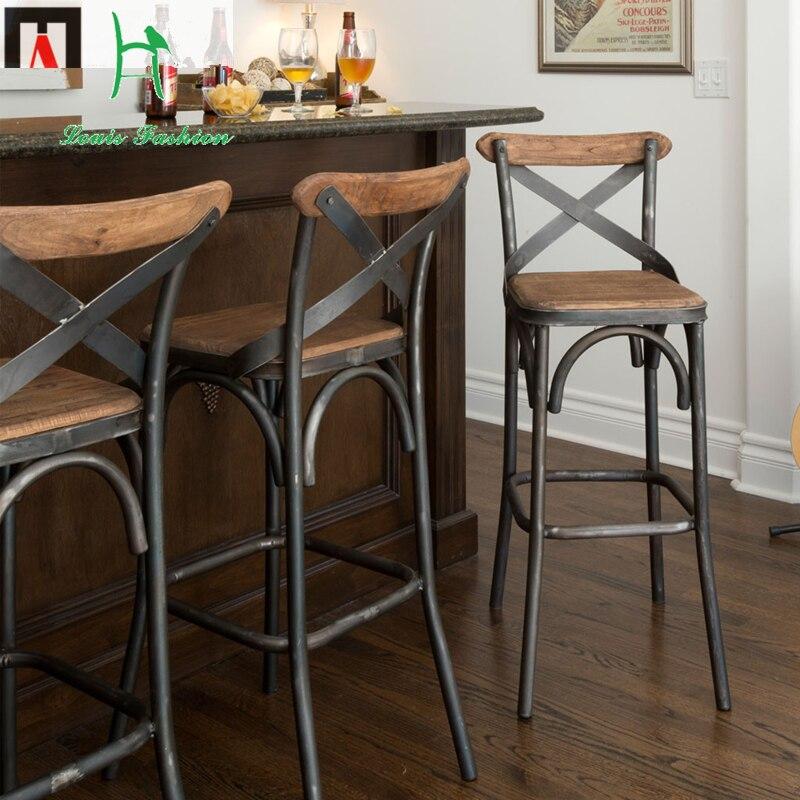 Louis Fashion European Style Bar Chairs Iron Wood Chair Simple Modern Stool Desk
