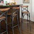 Европейский стиль барные стулья железа древесины барный стул простой современный стул стул стол и стул ВЫСОКИЙ СТУЛ Ретро