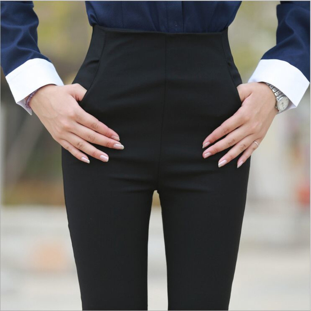 9fa40b7f01ba Korean Style Side Zipper Women s Pants High Waist Black OL Office Work Lady  Slim Feet Trousers