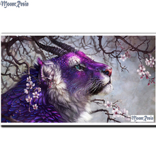MOONCRESIN 3D Diy Diamond Mosaic Purple Animals Painting Cross Stitch Full Square 5D Embroidery Decoration Gifts