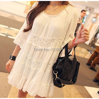 Vintage Mexico Floral Embroidery White Lace Casual DRESS BOHO Mini Dresses Women Clothing Summer Women Dress