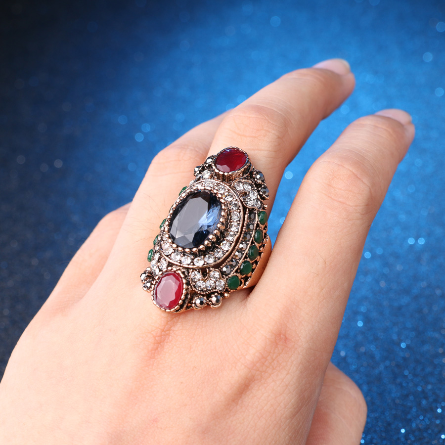 Turkey Jewellery Blue Vintage Wedding Wedding Rings For Colour - Նորաձև զարդեր - Լուսանկար 5