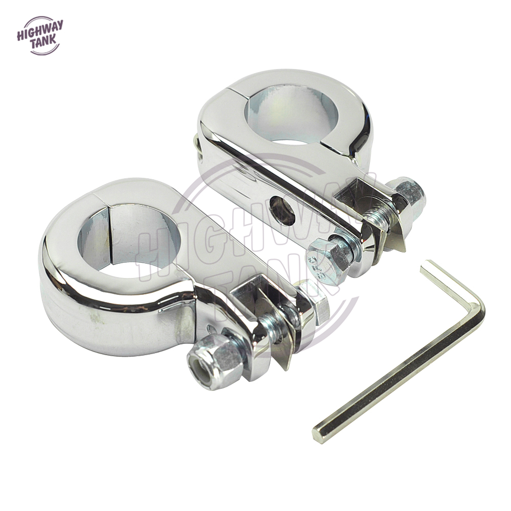 Chrome Motorcycle Foot Rest Moto Foot Peg P-Clamp Mounting Kits case for Harley engine guards 1 1/4 32mm Highway bar