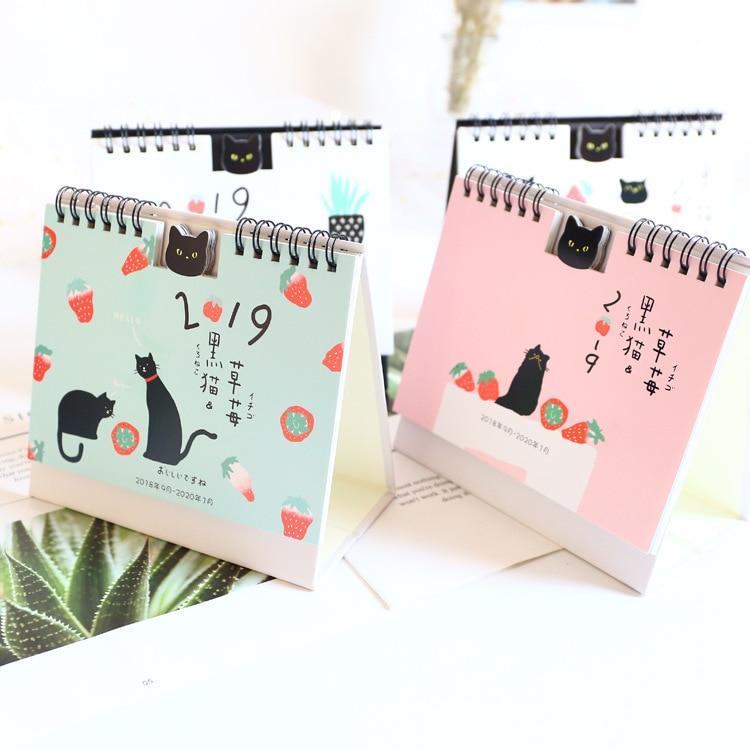 2019 Japanese Cute Cat Desk Calendar Diy Mini Cartoon Table Calendars Daily Schedule Planner 2018.09~2019.12 Office & School Supplies Calendar