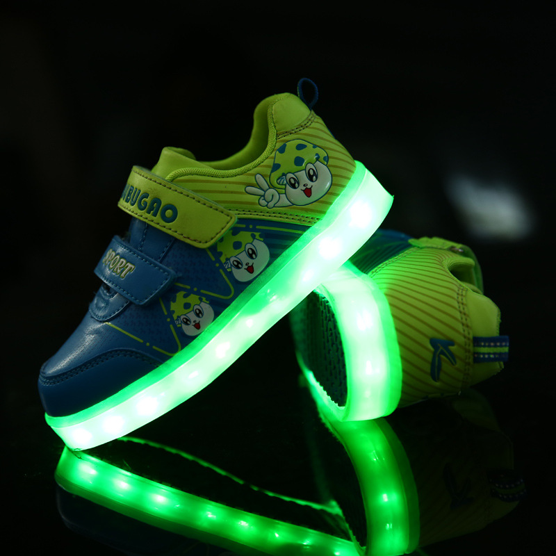 Children'S Boys/Girls Shoes LED Flash Sneaker Kids Baby Usb Charging Lights casual Shoes Autumn Light Emitting Sport Shoes 25 40 size usb charging basket led children shoes with light up kids casual boys