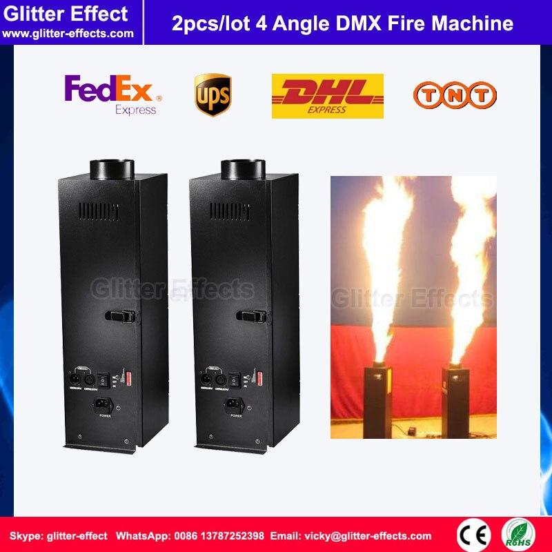 2 pcs/lot 4 coin forme 110 V/220 V DMX boule de feu pulvérisation Machine DMX Disco scène effet spécial flamme pilier projecteurs