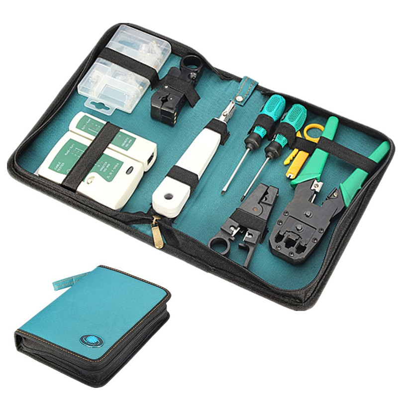 Network Crimping Tool Set/Kit Bag Cable Tester Connector Crimper Plug Plier Wire Cutter Screwdriver for RJ45 RJ11 RJ12 CAT5 best promotion steel telephone network line wire cable tester crimping crimper punch tool pliers top quality