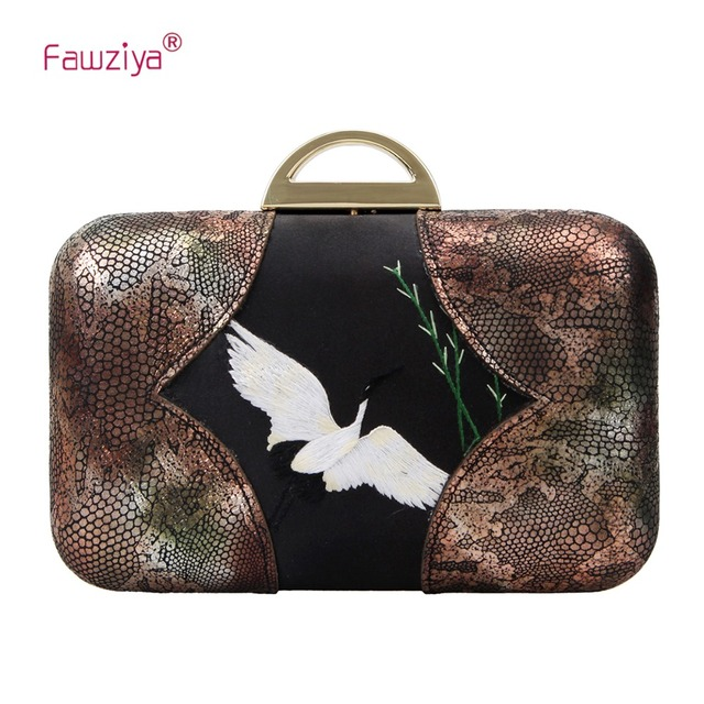 shop for best exquisite design super quality US $24.0  Fawziya Crane Embroidery Evening Bags And Clutches Snake Pattern  Cowhide Clutch Purse-in Clutches from Luggage & Bags on Aliexpress.com   ...