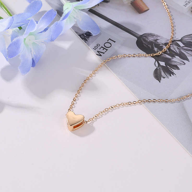 Fashion Peach Heart Beads Necklace Women Trinket Silver Gold Chain Choker Jewelery Pendant Neckless Layered Necklaces