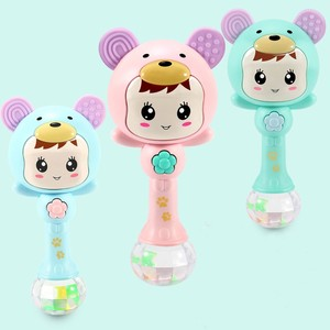 Image 2 - Baby Shaker Teether Sand Hammer Cartoon Teething Illuminant Musical Instrument Toys for Baby Girls and Boys Cute Baby Rattles